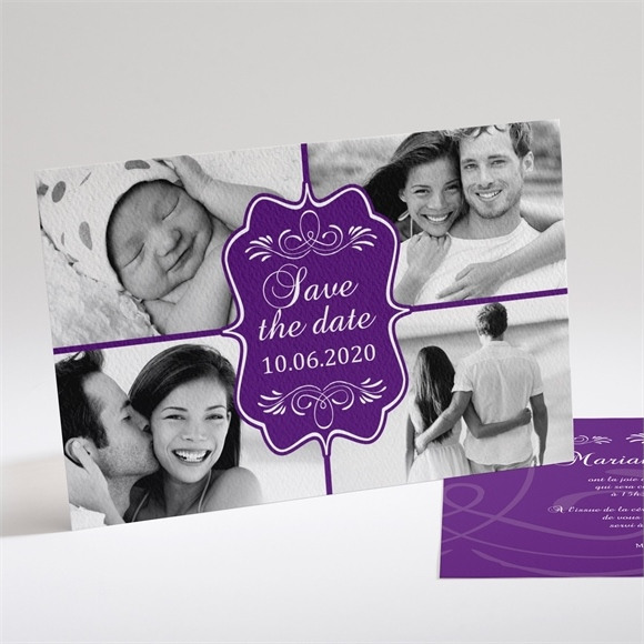 Faire-part mariage Médaillon violet et photos réf.N14120