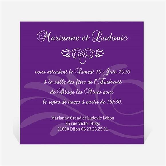 Carton d'invitation mariage Médaillon violet et photos réf.N300144