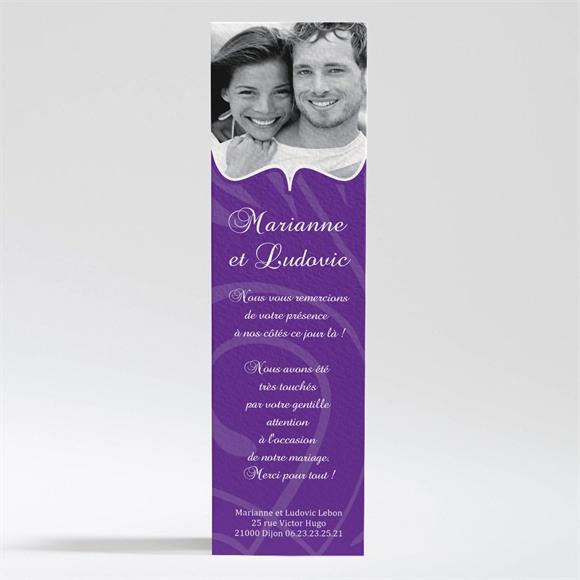 Remerciement mariage Médaillon violet et photos réf.N200218