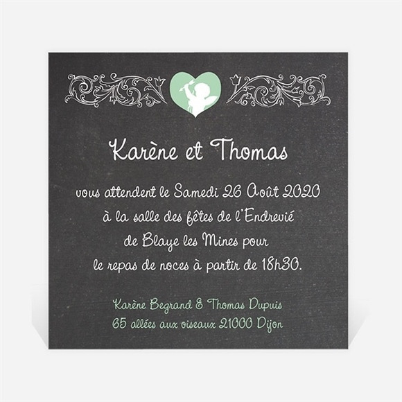 Carton d'invitation mariage Cupidon réf.N300139