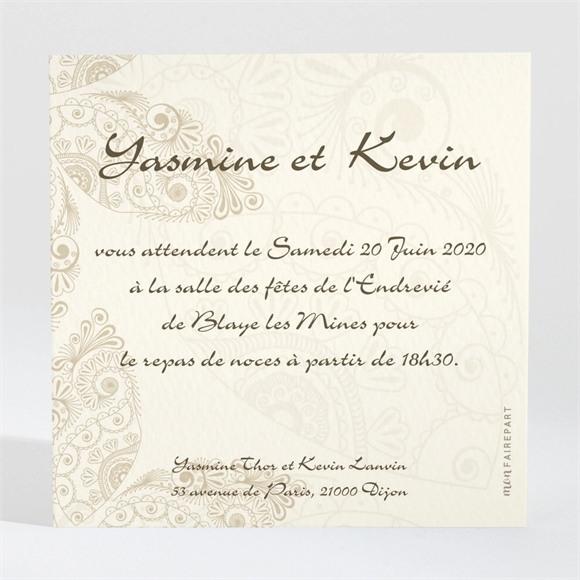 Carton d'invitation mariage Romantique byzantin réf.N300152