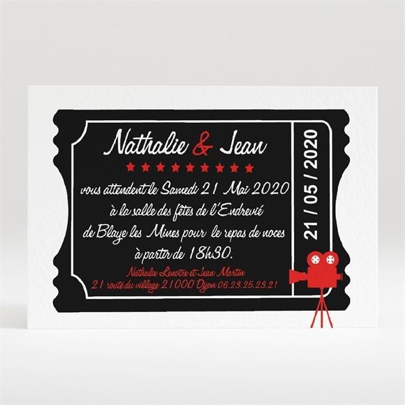 Carton d'invitation mariage Notre Film réf.N120192