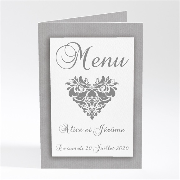Menu mariage Coeur floral réf.N401217