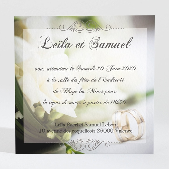 Carton d'invitation mariage Nos alliances réf.N300151