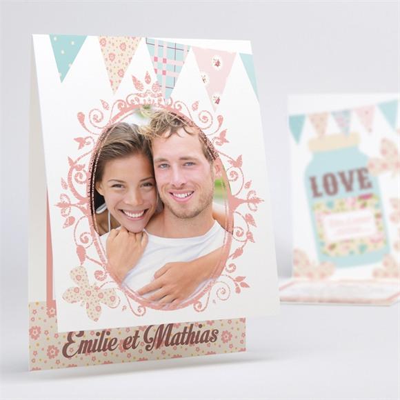 Faire-part mariage Médaillon et banderoles réf.N50132