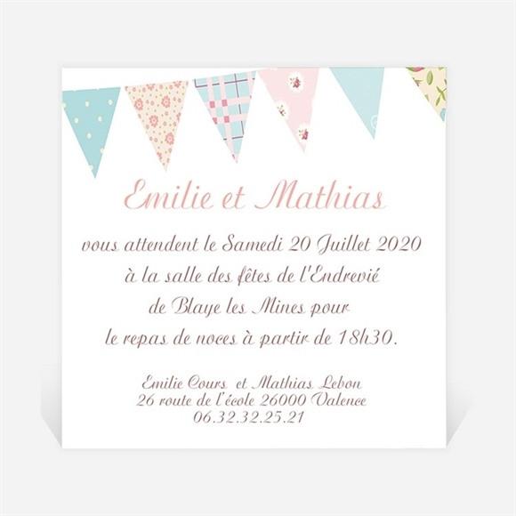 Carton d'invitation mariage Médaillon et banderoles réf.N300147