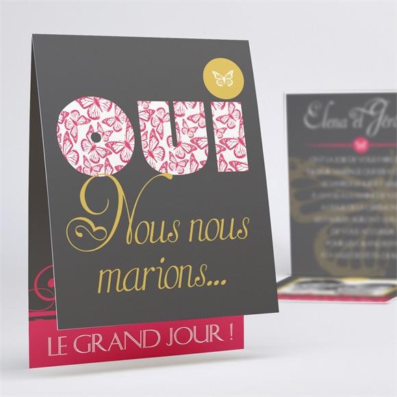 Faire-part mariage Rose et Noir réf.N50134