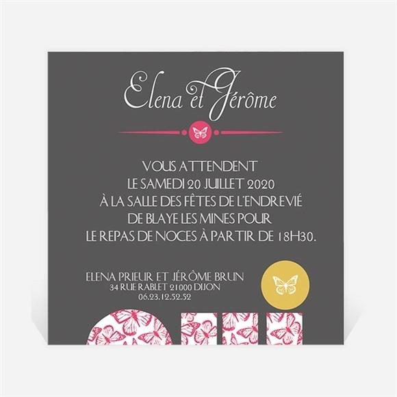 Carton d'invitation mariage Rose et Noir réf.N300154