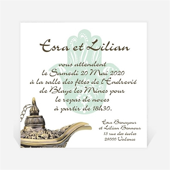 Carton d'invitation mariage Lampe merveilleuse réf.N300158