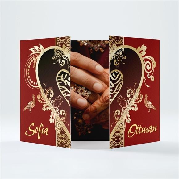 Faire-part mariage Rouge et or réf.N70128