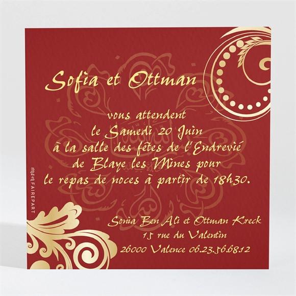 Carton d'invitation mariage Rouge et or réf.N300157