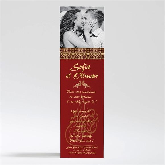 Remerciement mariage Rouge et or réf.N200235