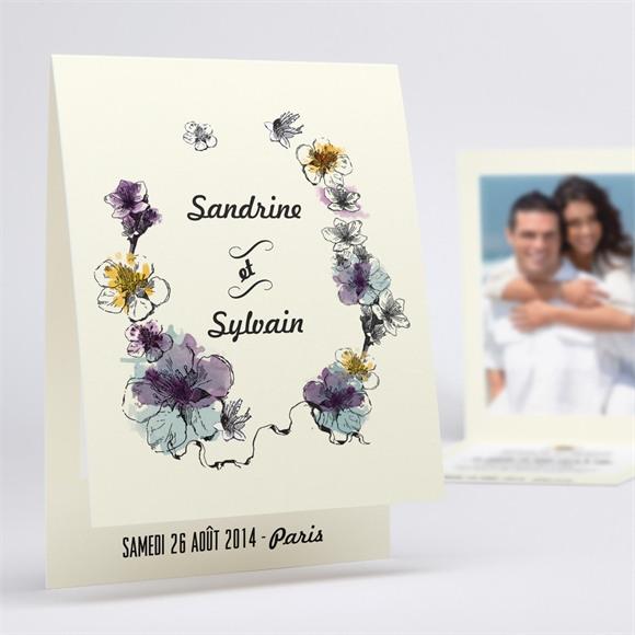 Faire-part mariage Farandole fleurie réf.N50136