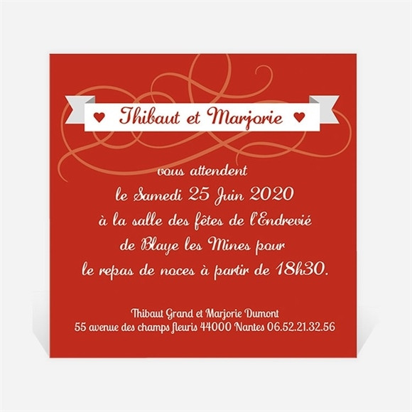 Carton d'invitation mariage Elle & Lui Symboles réf.N300160