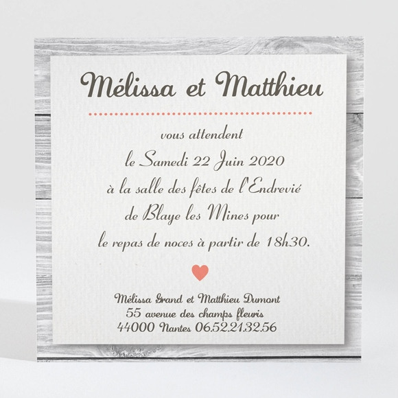 Carton d'invitation mariage Oiseaux vintage réf.N300161