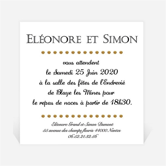 Carton d'invitation mariage Smoking et Talons réf.N300162