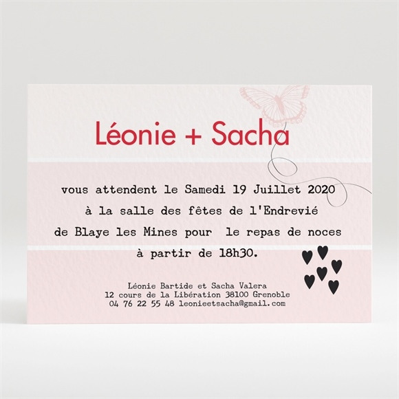 Carton d'invitation mariage Le Joli Noeud du mariage réf.N120204