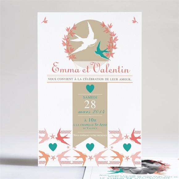 Faire-part mariage Jolis Oiseaux Messagers réf.N24140