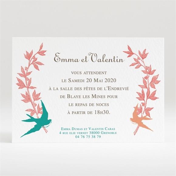 Carton d'invitation mariage Jolis Oiseaux Messagers réf.N120205