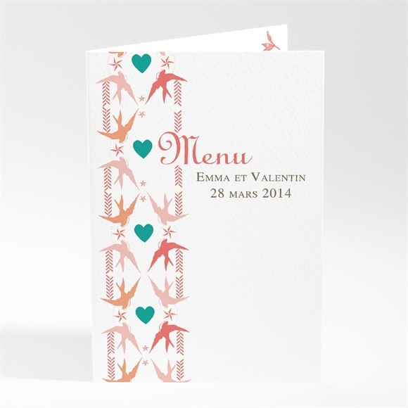 Menu mariage Jolis Oiseaux Messagers réf.N401266
