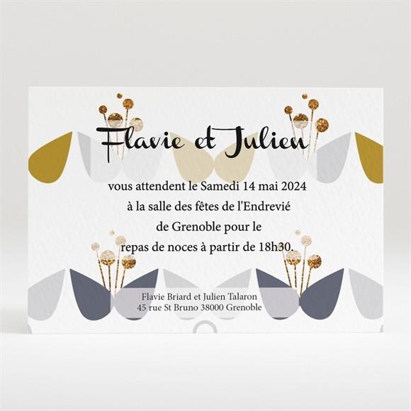 Carton d'invitation mariage Motifs Papillon vintage réf.N120207