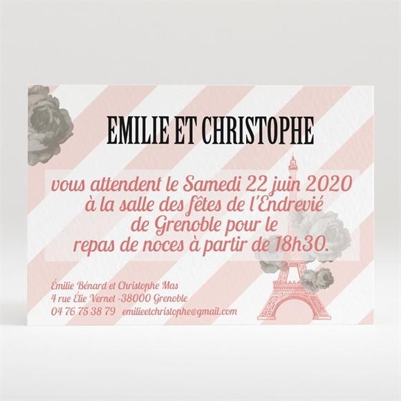 Carton d'invitation mariage Autour de la Tour Eiffel réf.N120208