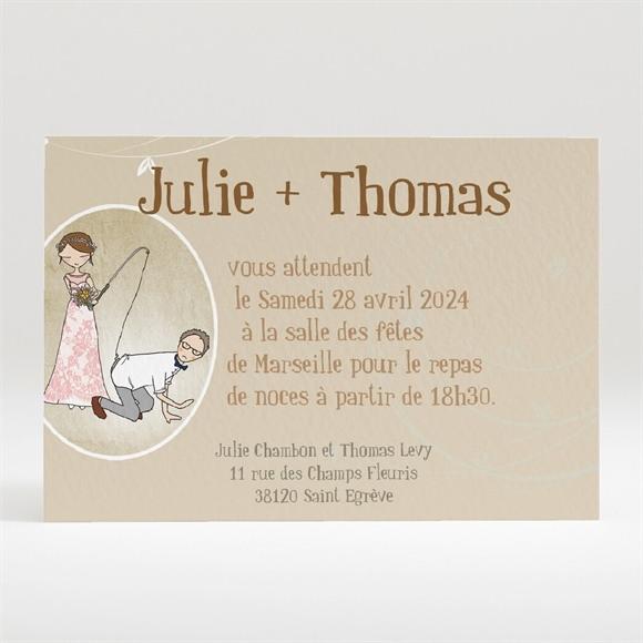 Carton d'invitation mariage Dans le droit Chemin réf.N120211