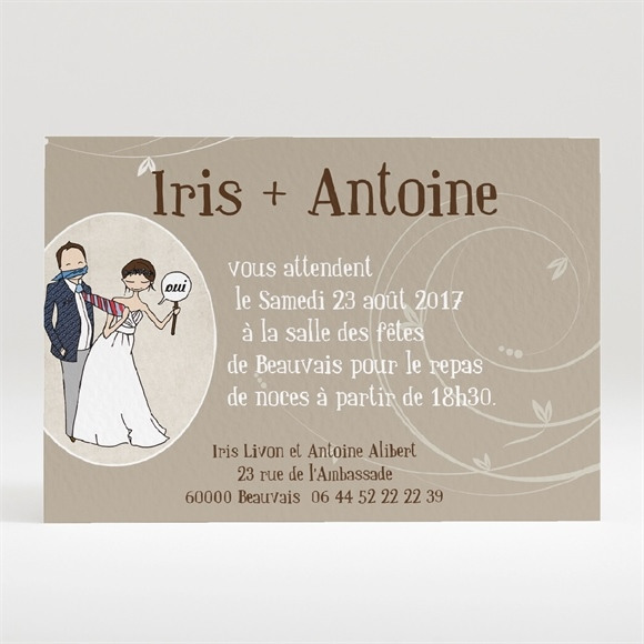 Carton d'invitation mariage Illustrations Humour original réf.N120213