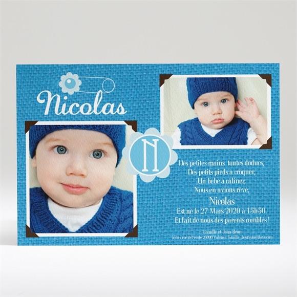 Faire-part naissance 2 photos pour Lui réf.N14014