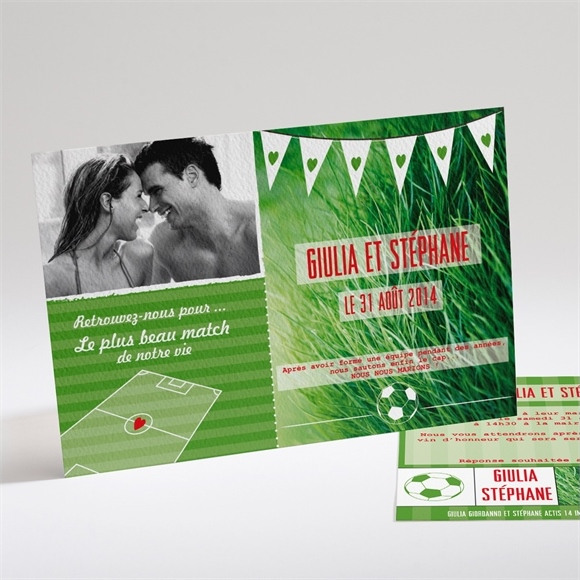 Faire-part mariage Notre Terrain de Football réf.N14127