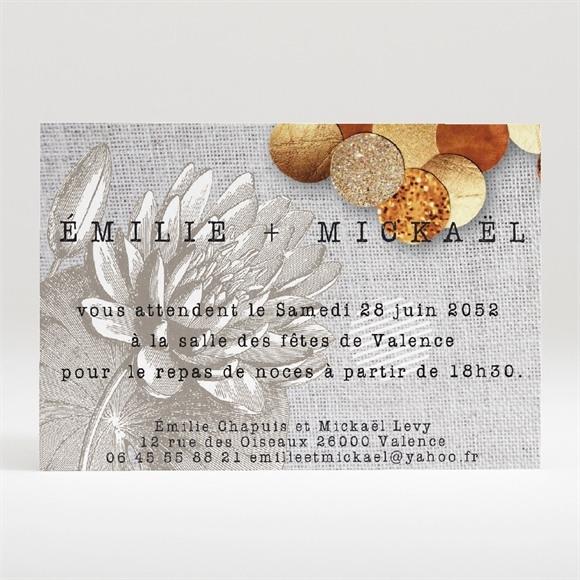 Carton d'invitation mariage Gravure et motifs original réf.N120216