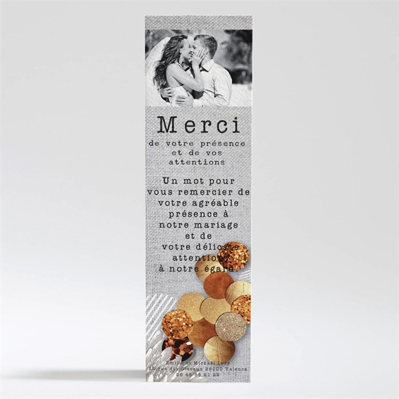 Remerciement mariage Gravure et motifs original réf.N200266