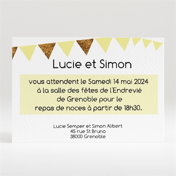 Carton d'invitation mariage Motifs et losanges jaunes réf.N120219