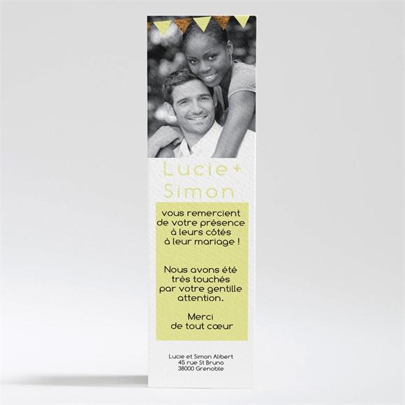 Remerciement mariage Motifs et losanges jaunes réf.N200269