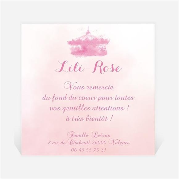 Remerciement naissance Manège rose réf.N300184