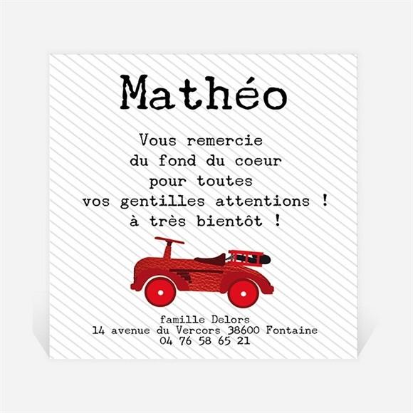 Remerciement naissance Jolie Voiture vintage réf.N300187