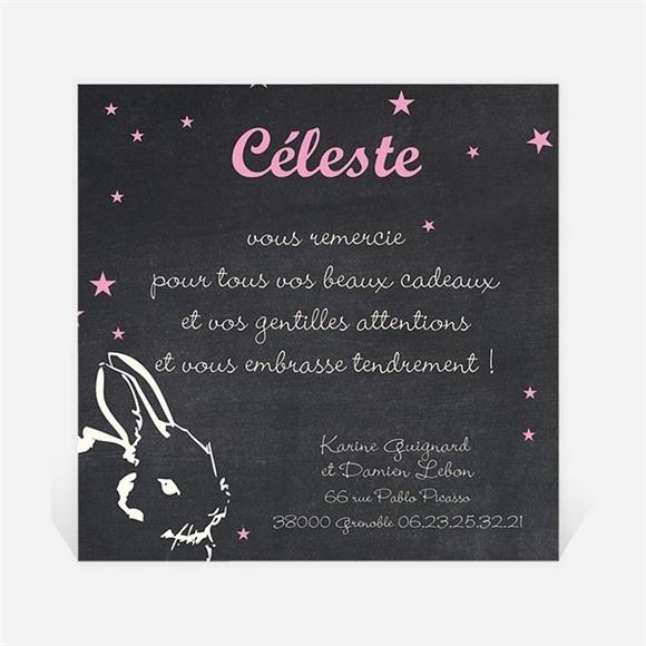 Remerciement naissance Petit Lapin ardoise réf.N300200