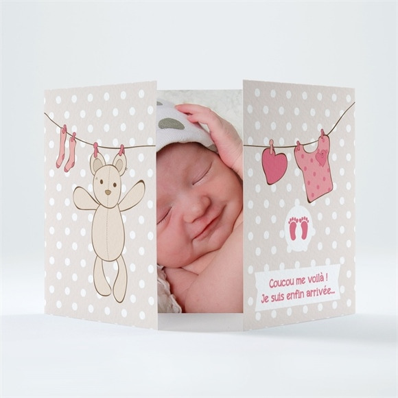 Faire-part naissance Fil à linge illustré réf.N70137