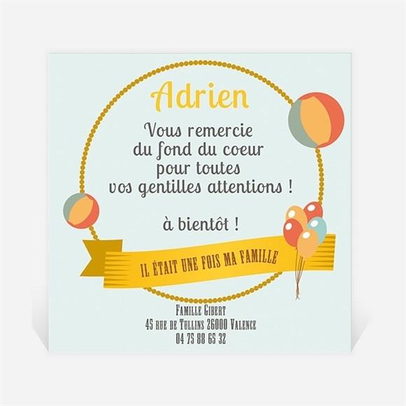 Remerciement naissance Cercle et Ballons réf.N300208