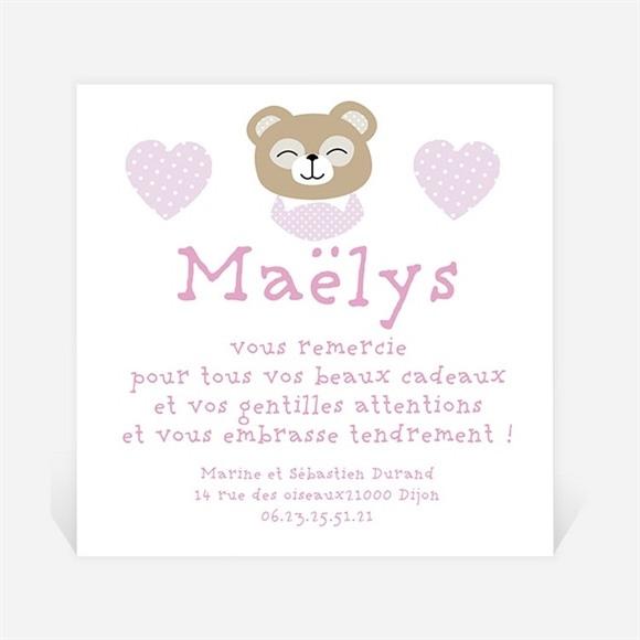 Remerciement naissance Petite oursonne mignonne réf.N300215
