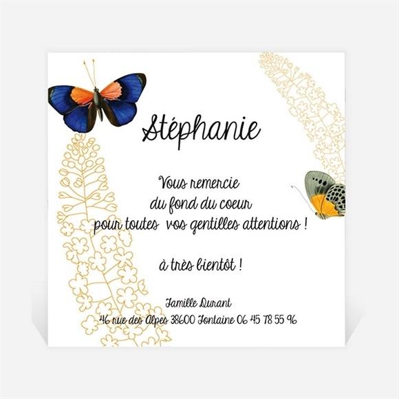 Remerciement naissance Photo et papillons réf.N300216