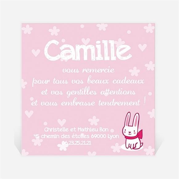 Remerciement naissance Joli lapin rose réf.N300228