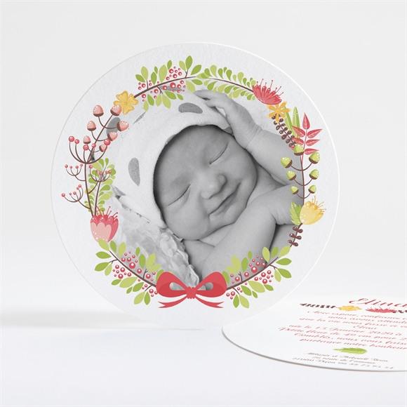 Faire-part naissance Rond fleuri naissance réf.N32123