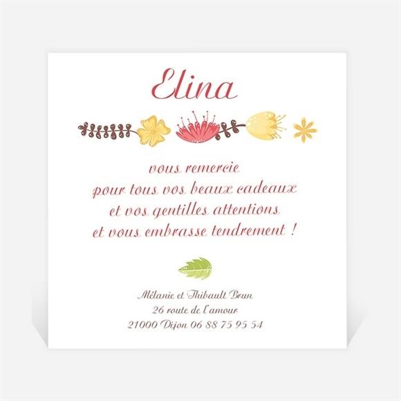 Remerciement naissance Rond fleuri naissance réf.N300231