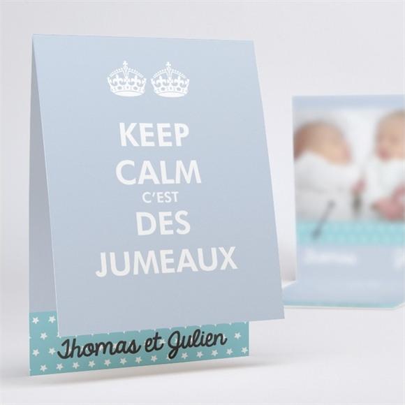 Faire-part naissance Keep calm voilà les jumeaux réf.N50137
