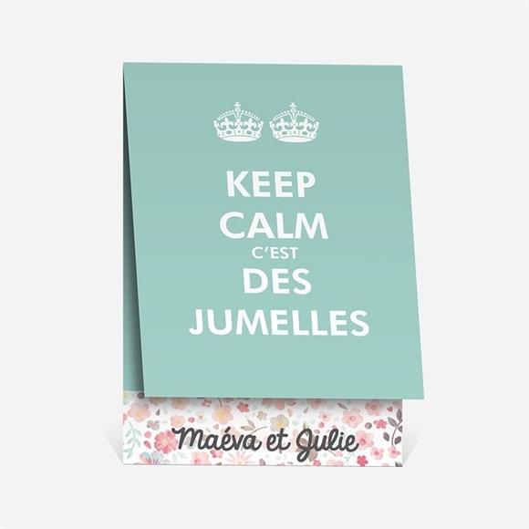 Faire-part naissance Keep calm c'est des jumelles réf.N50138