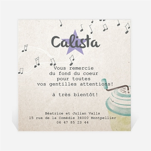 Remerciement naissance La boite à musique réf.N300241