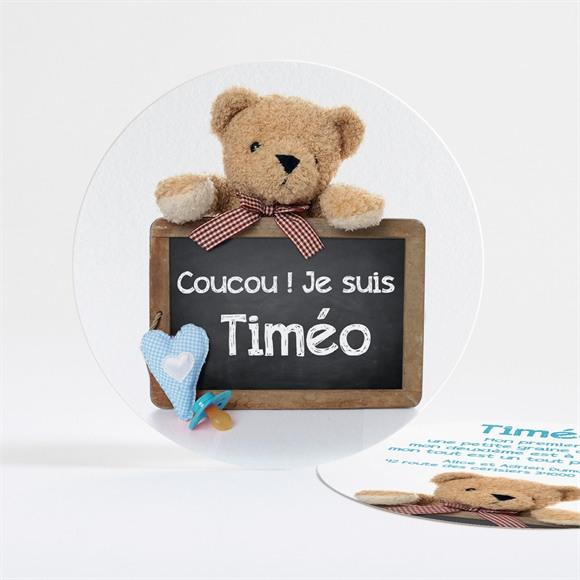 Faire-part naissance Coucours Nounours Lui réf.N32135