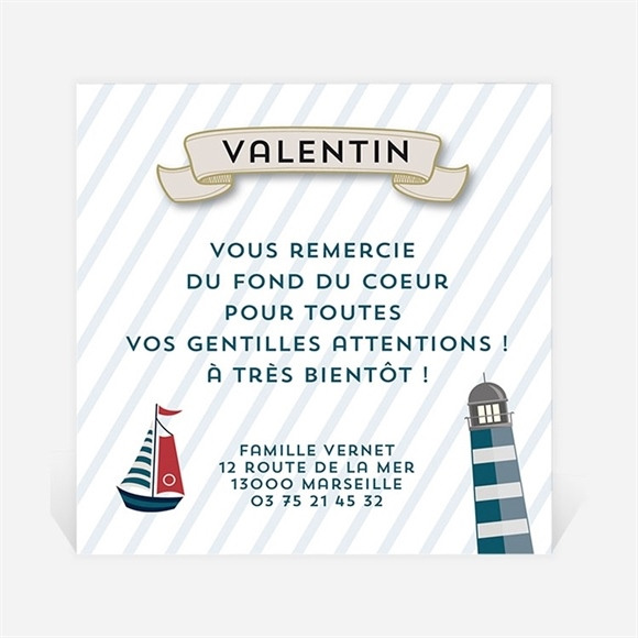 Remerciement naissance Petit matelot original réf.N300260