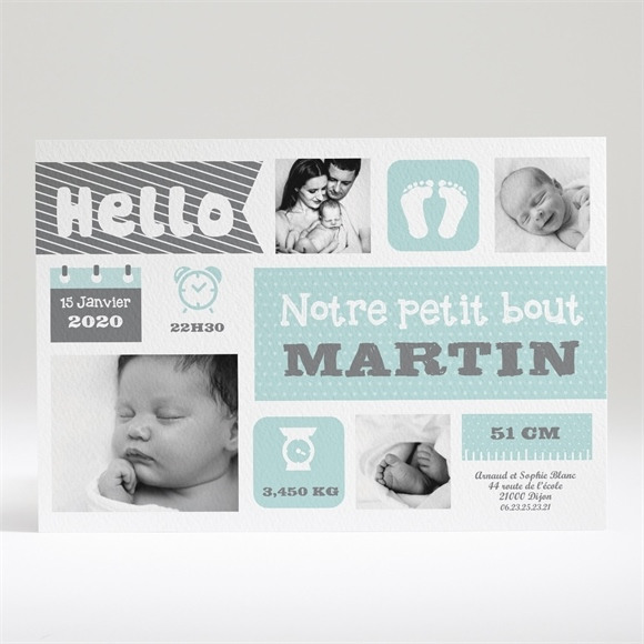 Faire-part naissance Hello tendance réf.N14018